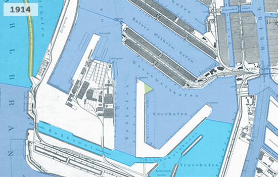 Die Karte zeigt den Hafen in Steinwerder im Jahr 1914.