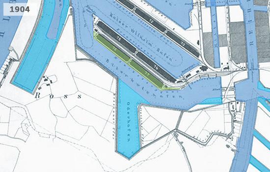 Historische Karte von Steinwerder im Hamburger Hafen 1904