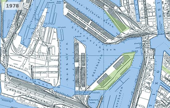 Historische Karte von Steinwerder im Hamburger Hafen 1978